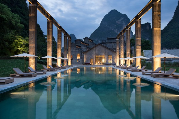 Alila Yangshuo - Pool - Evening.JPG