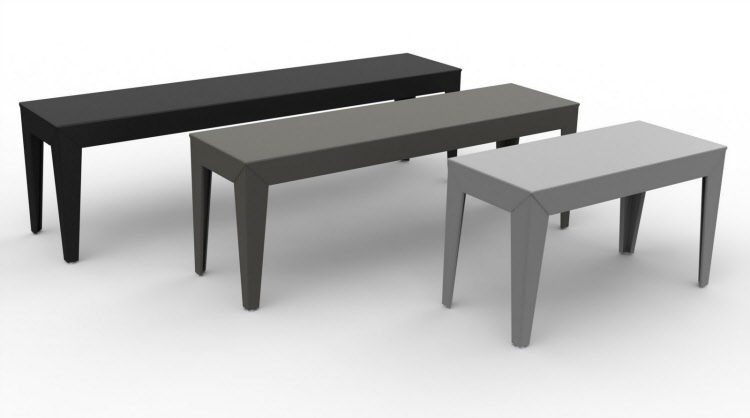 banc-metal-matiere-grise