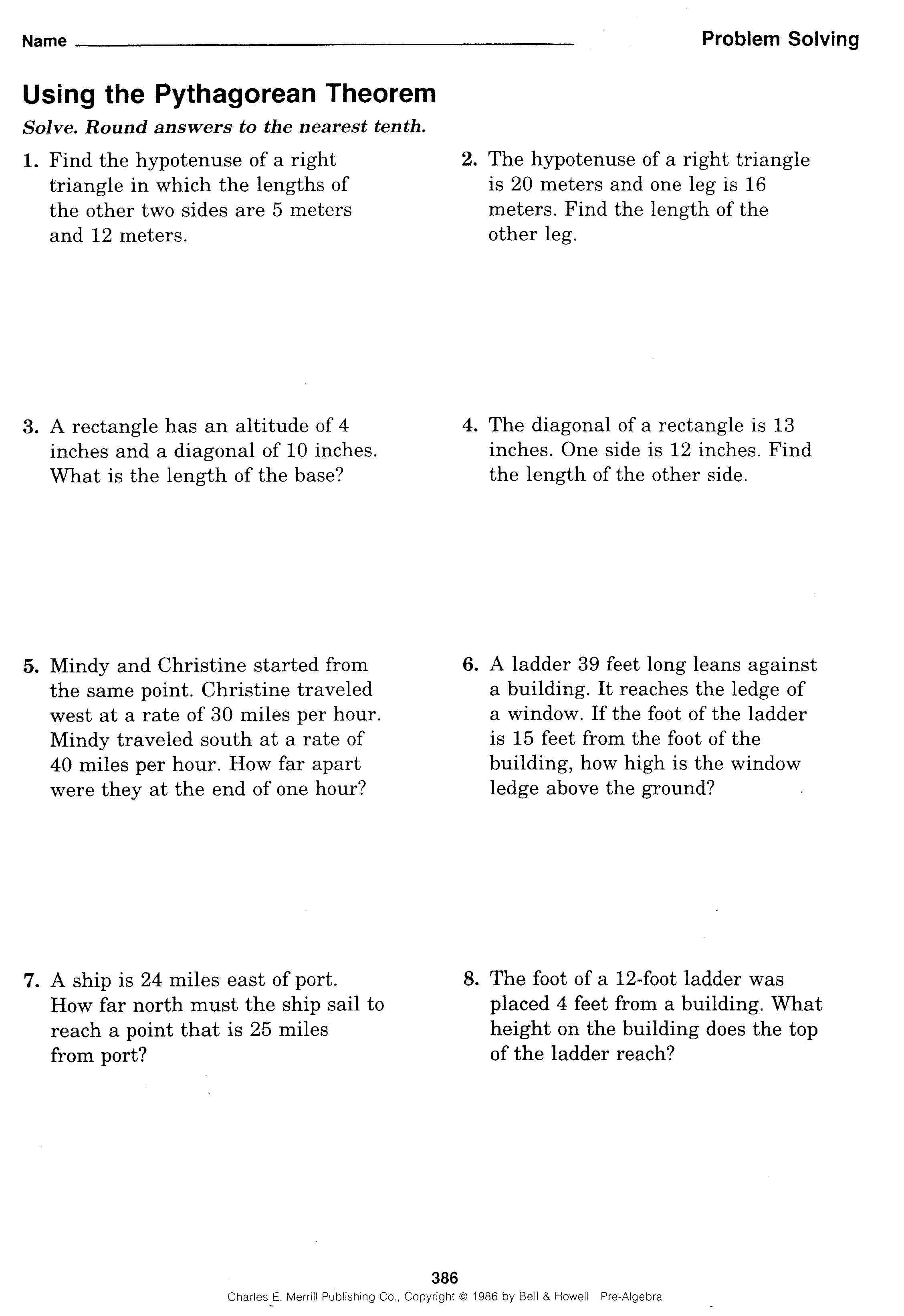 Grade 8 Pythagorean Theorem Word Problems Worksheet
