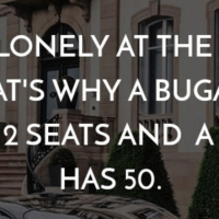 It's lonely at the top. That's why Bugatti has 2 seats and bus has 50.