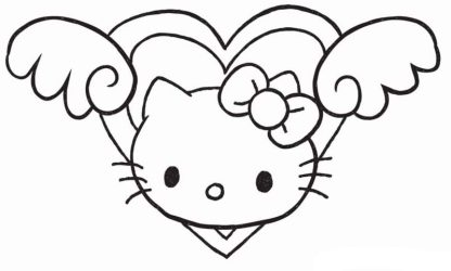 draw kitty hello heart drawing wings easy cats cute cat face clipartmag princess