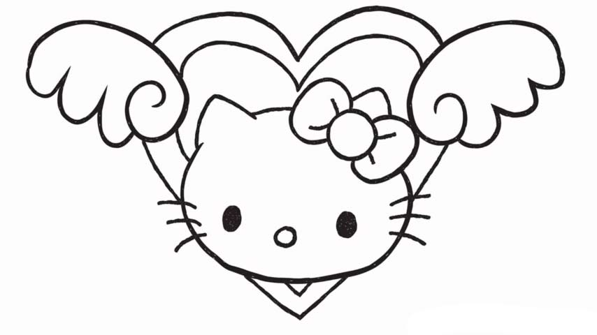 How To Draw Hello Kitty Love Heart With Wings My How To Draw