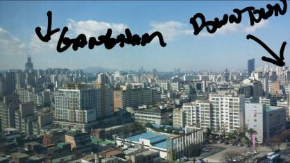Clear day from my apartment. I live outside the core of the city - can't even see downtown as it is beyond a mountain in the middle of the city. Gangnam (like the rap song) is the other direction and the tall building is the Lotte World which when complete will be the second tallest in the world.