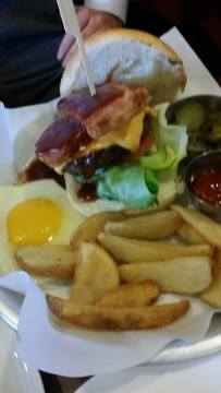 American burger....beef with ham topping and an egg on the side. Very good.