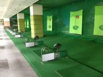 Indoor golfing option at the apartments at which we looked