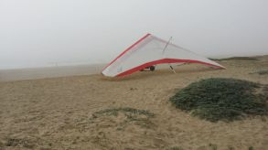 Fog moved in during beach bike ride- guy offered a cheap lesson - $25....old Jarrett would have done it.