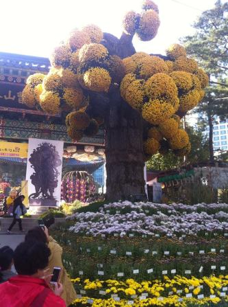 Jogesa temple with giant flowers