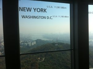 From a tower on the mountain in the middle of town - hazy so you could not see to the apartment where I am living now.
