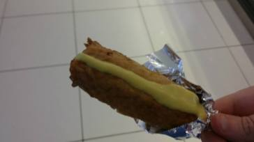 I thought this was a corn dog....not sure what was in the coating but the closest thing to a gag reflex that I have had.