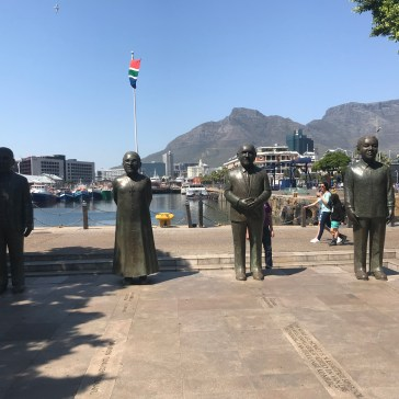 Statues of Mandella, Tutu, DeKllerk, and Luthul in Nobel Square at the waterfront. All four won the Nobel Peace Prize