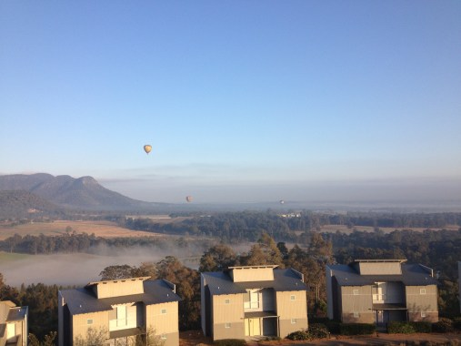 Early morning Tai Chi on meditation hill, watching the hot air ballooning over the Hunter Valley