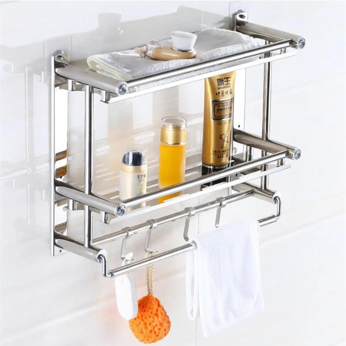 bathroom shelves 60cm stainless steel bathroom shelving shelf kitchen storage rack towel washcloth hanger bath 2 tier