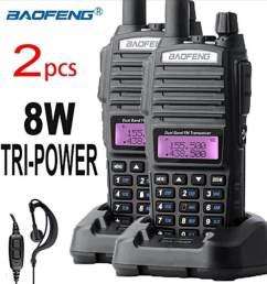 2 pcs baofeng uv82 plus walkie talkie 8w ultra long range 10km free earphone mic [ 1040 x 1075 Pixel ]