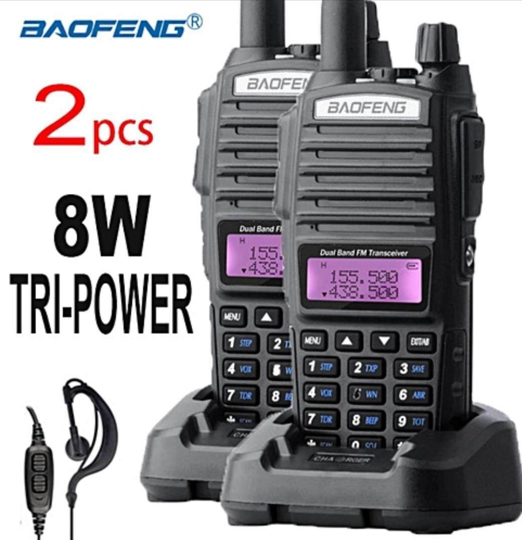hight resolution of 2 pcs baofeng uv82 plus walkie talkie 8w ultra long range 10km free earphone mic