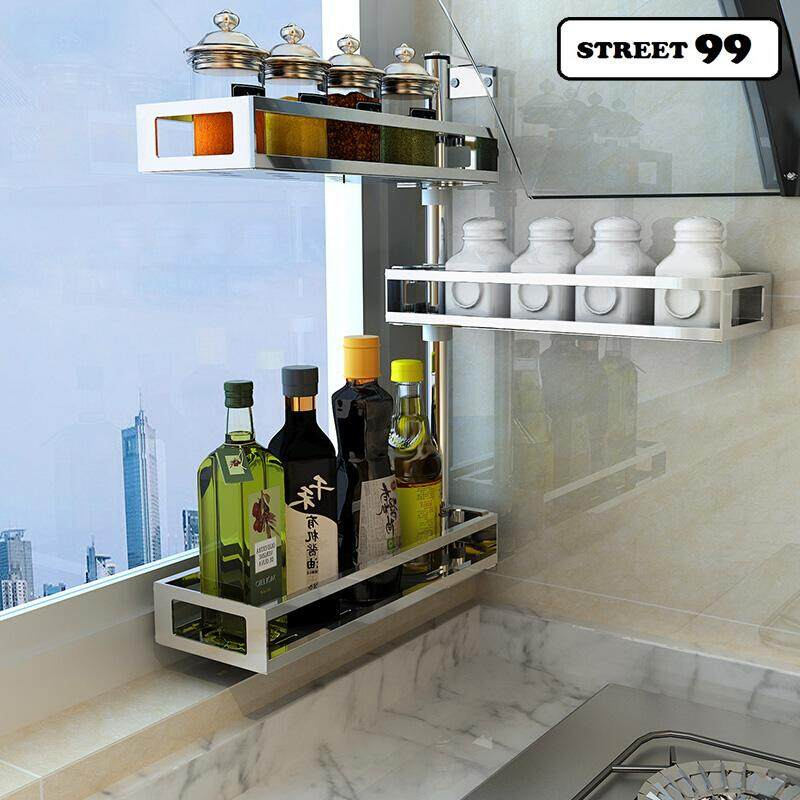 kitchen spice rack waterstone faucets home condiment racks buy at 3 layers wall shelves stainless steel rotating toilet