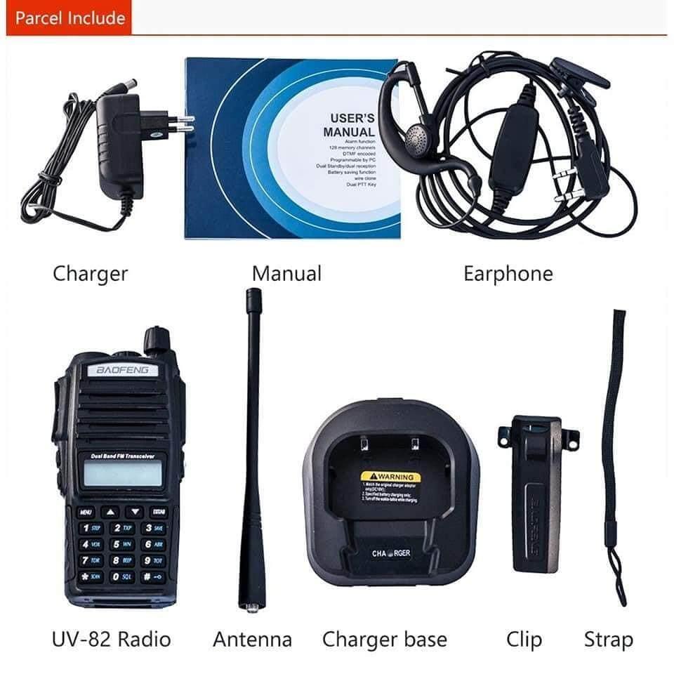 medium resolution of walkie talkie baofeng uv82 5w vhf uhf uv 82 portable walkie talkies 2800mah dua arah
