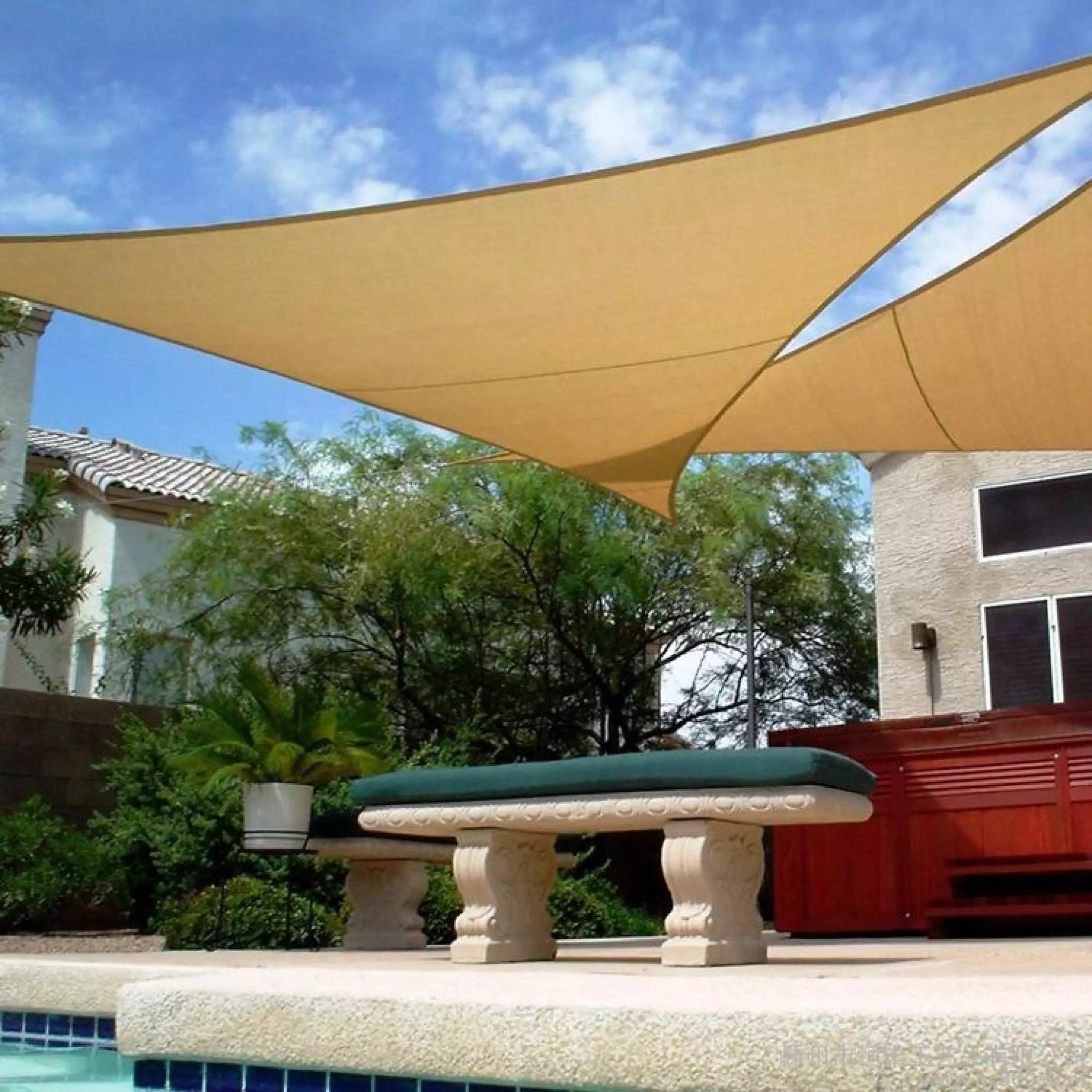 5x5x5m shade sail patio canopy cloth triangle sun shade net lawn plant care patio furniture cover sun shelter desert sand color