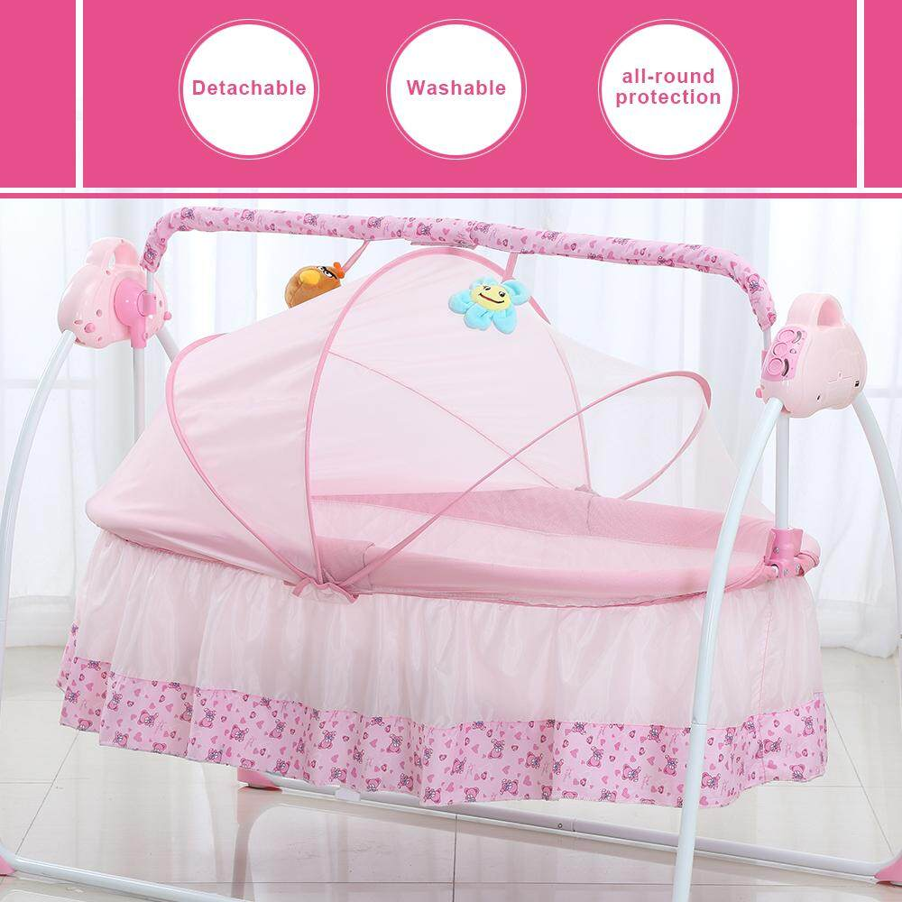Electric Baby Bassinet Cradle Swing Rocking Connect Mobile