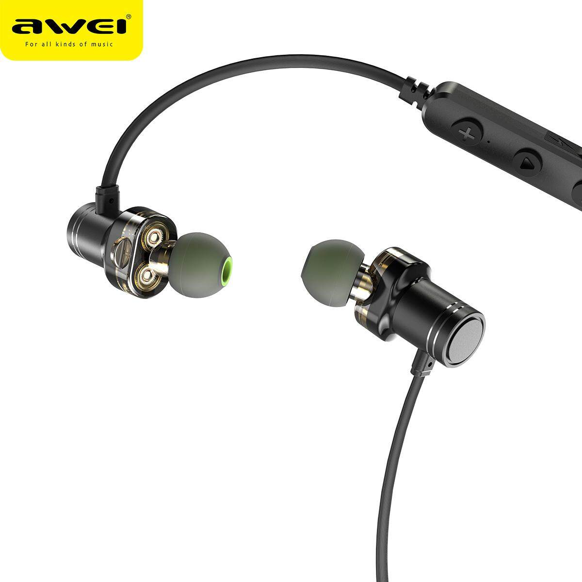 hight resolution of awei x670bl bluetooth headset dual driver wireless headphones bluetooth earphones with mic super bass earbuds stero