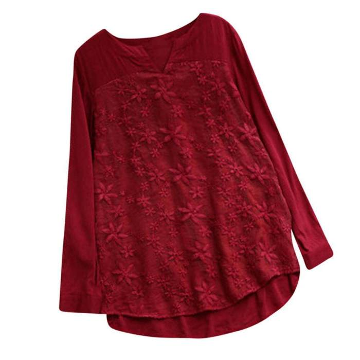 Ulamore Women Floral Lace Embroidery V-Neck Long Sleeve