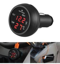 cheerfulhigh 3 in 1 12 24v car auto led digital voltmeter gauge  [ 1001 x 1001 Pixel ]