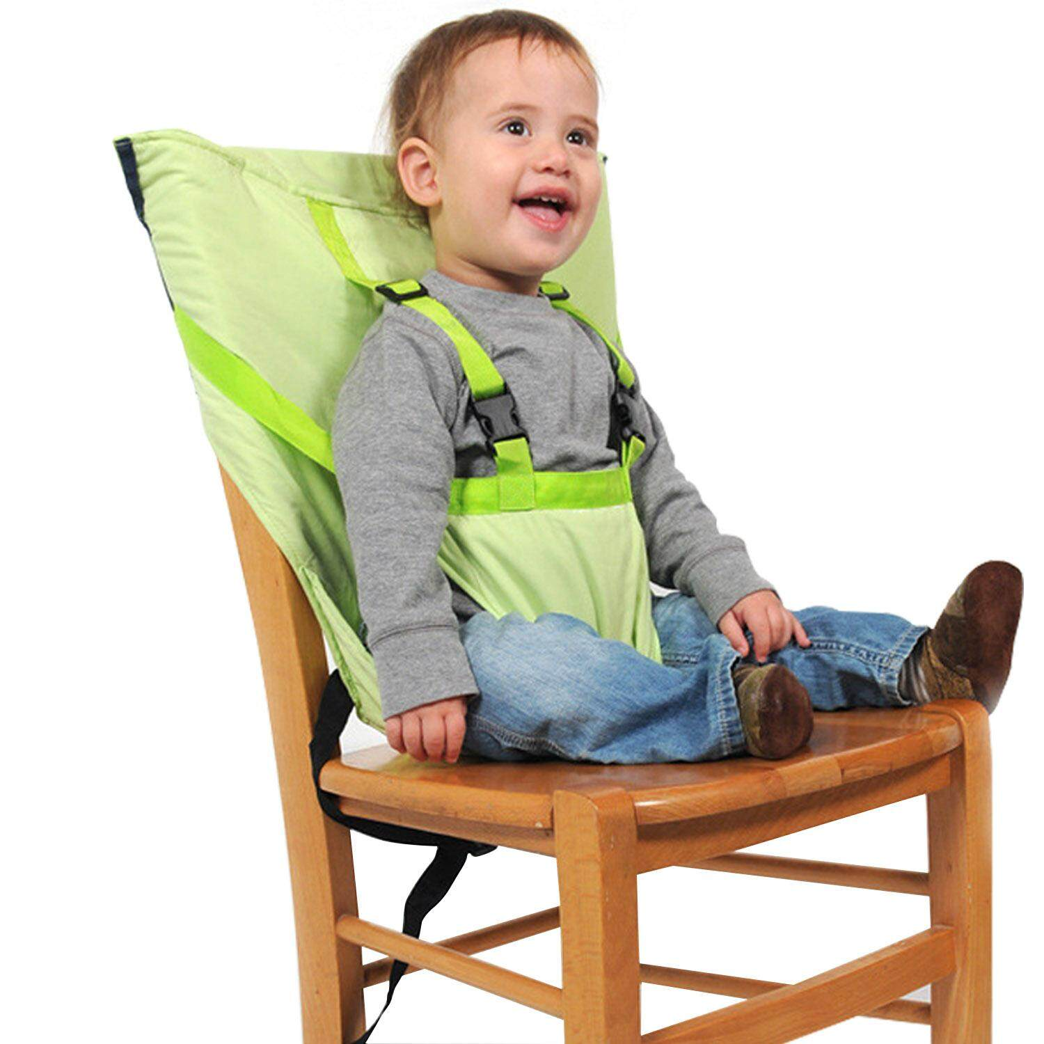 Booster High Chair Seat Portable Travel Baby Infant High Chair Booster Safety Seat Belt Harness Cover With Adjustable Shoulder Straps For Baby Kids Toddlers Feeding Green By