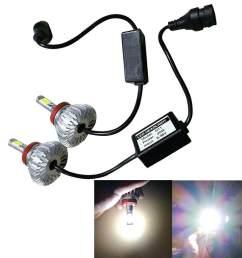 dickeystore 40w v2 3600lm led h8 headlight kit low beam bulbs 6500k white high [ 1000 x 1000 Pixel ]
