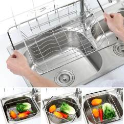 Kitchen Sink Rack Storage Table Home Dishracks Accessories Buy Adjustable Dish Drainer Stainless Steel Basket Over The Rustproof Utensil For
