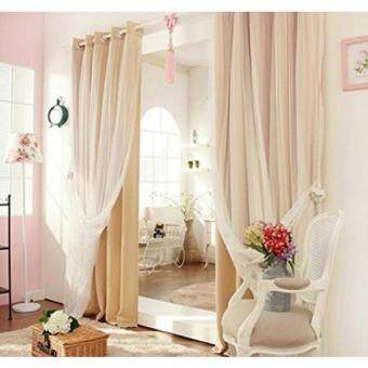 tips home cal mix match tulle sheer lace blackout curtain set mute grommet top wheat 50 quot w x 84 quot l 2 curtains and 2 sheer curtains order order tracking