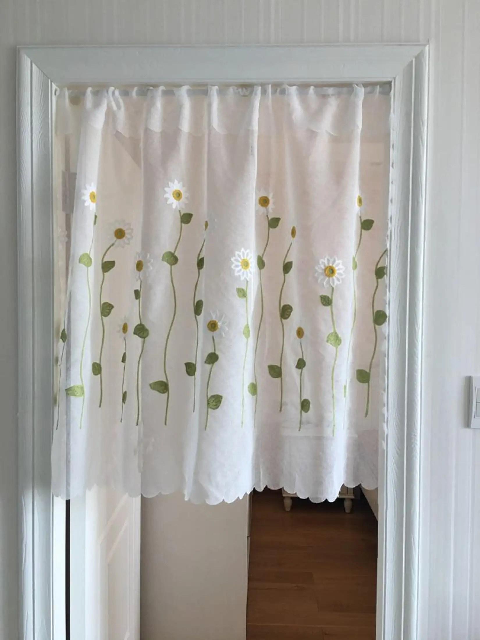 japanese style flower long lace door curtains gauze embroidery bedroom room dividers bathroom curtain decoration modern kitchen tassel pendant door