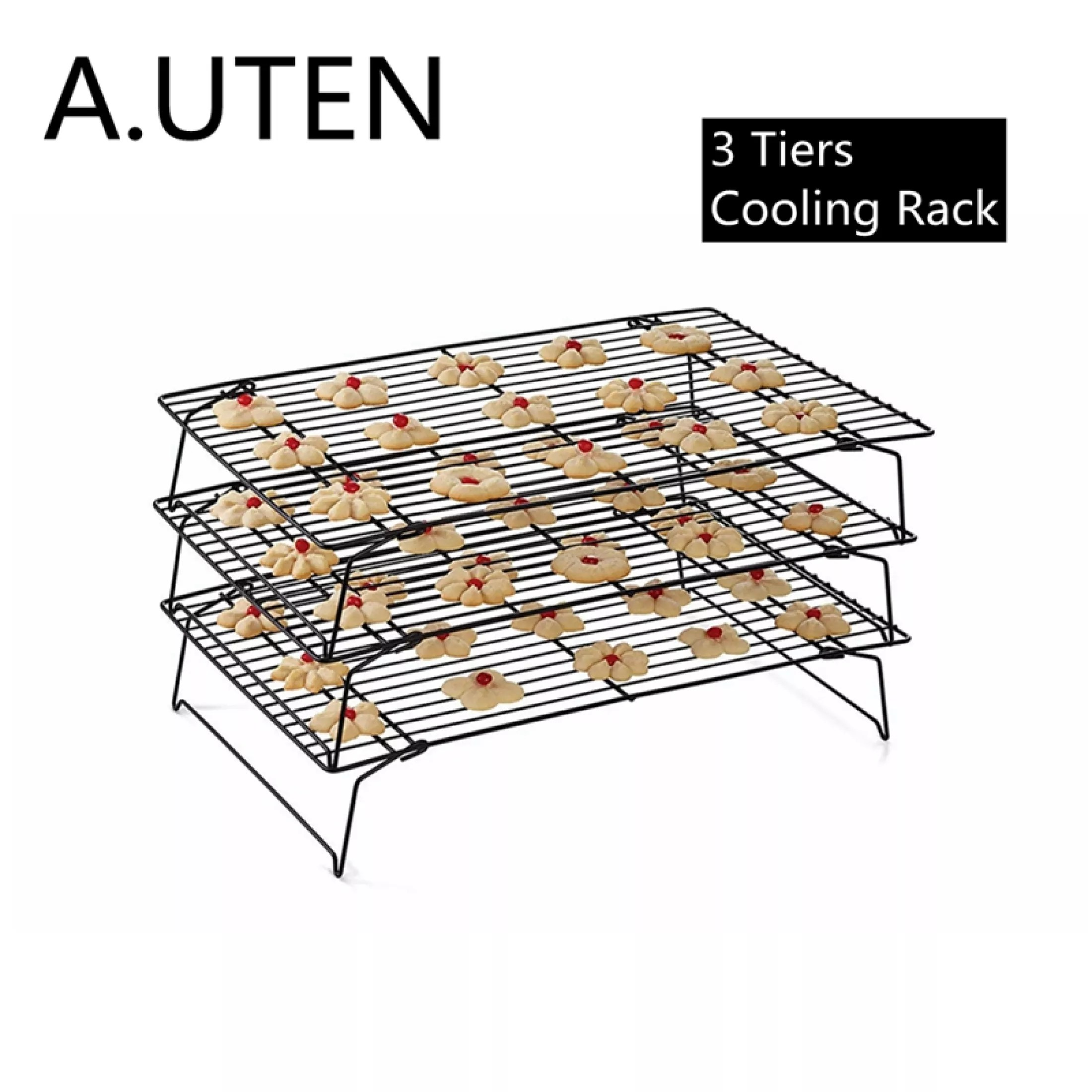 a uten 3 tier collapsible cooling rack for cookies cakes folding non stick wire baking racks for bread