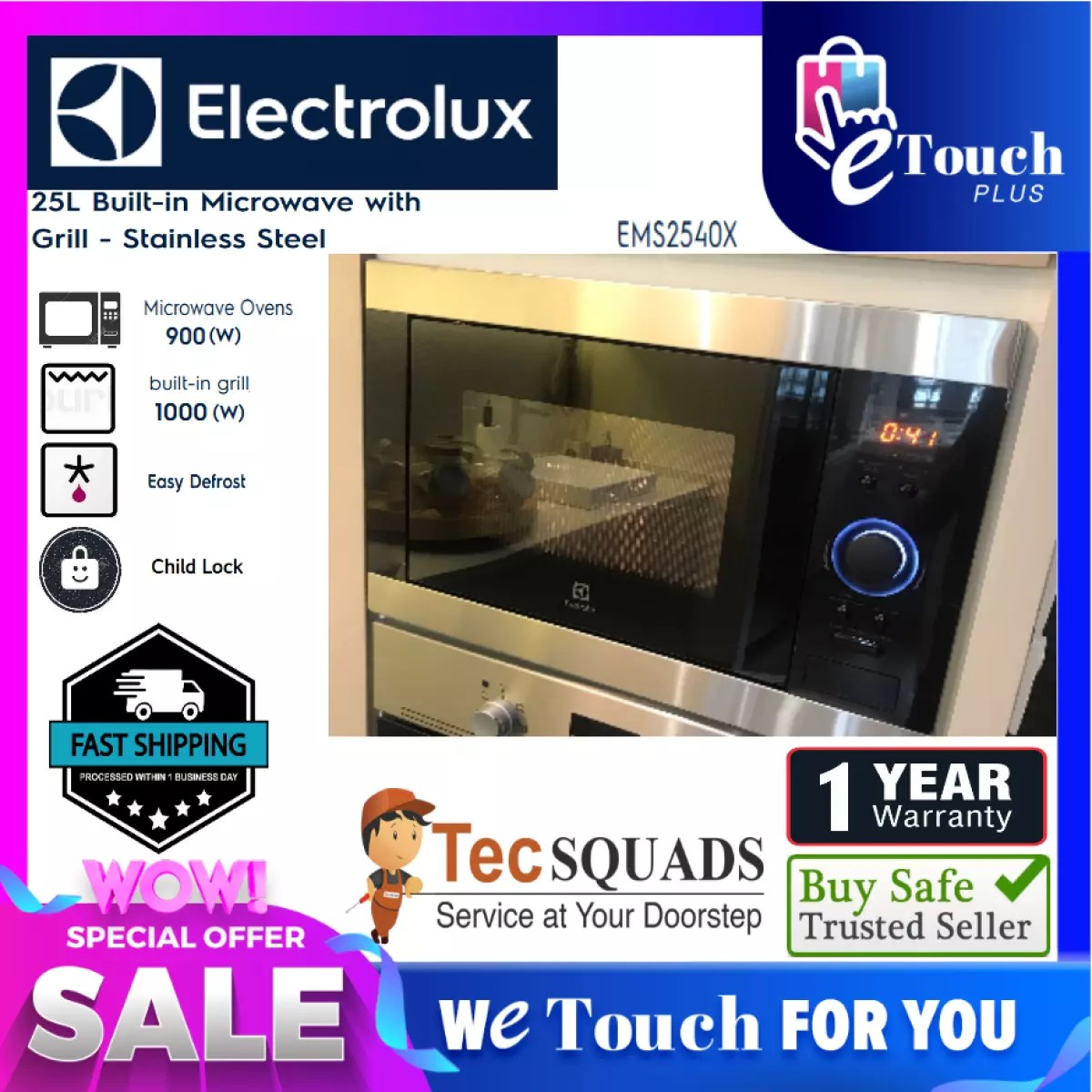electrolux ems2540x built in microwave oven with grill 25l 900w led display
