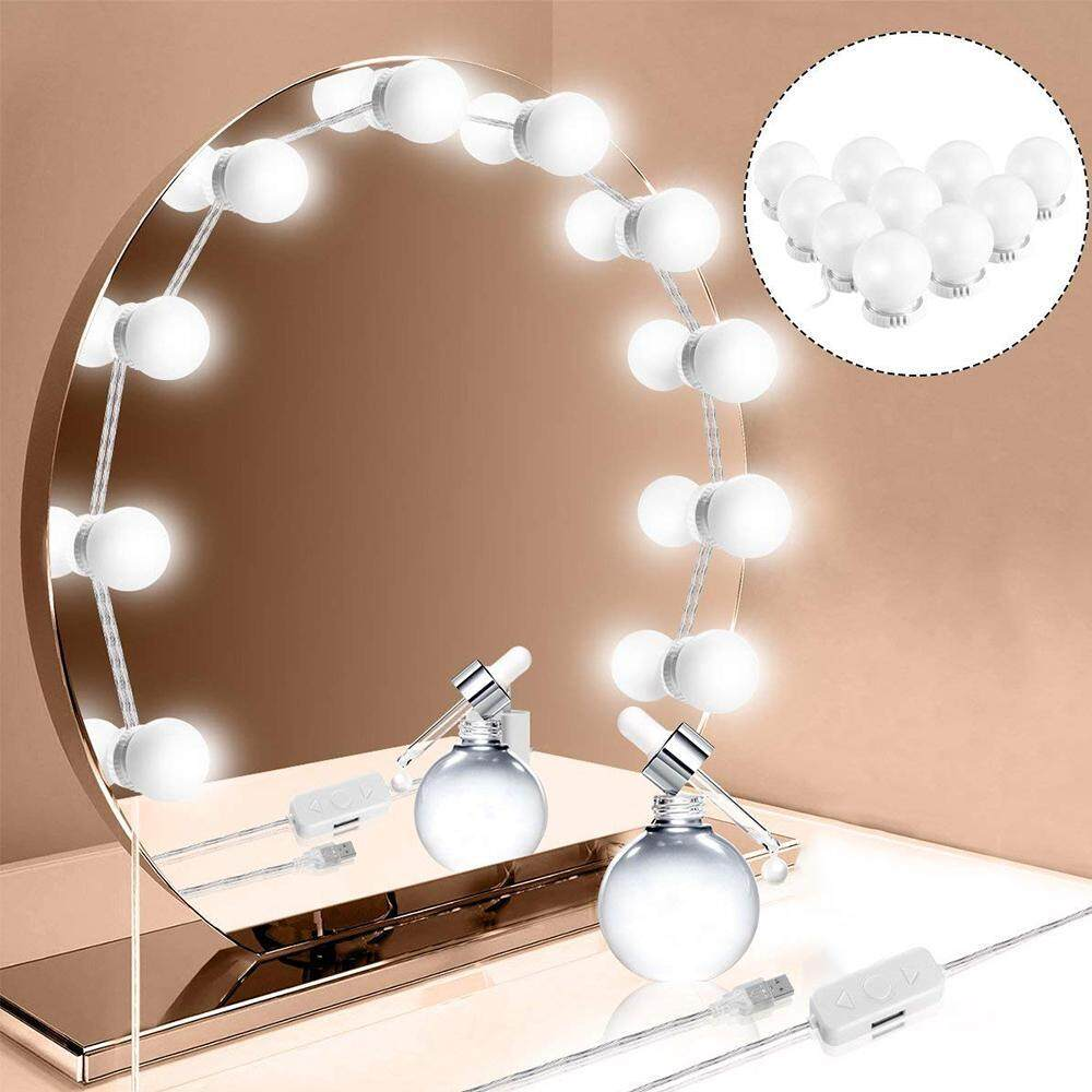 Withritty 10 Hollywood LED Kaca Rias Perlengkapan Lampu dengan Lampu Dapat Diredupkan Diy String Lampu untuk Makeup Meja Rias Terletak Di Ruang Ganti (cermin Tidak Termasuk)