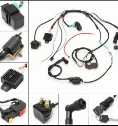 complete electric start engine wiring loom 110 125cc quad bike atv buggy [ 1000 x 1000 Pixel ]