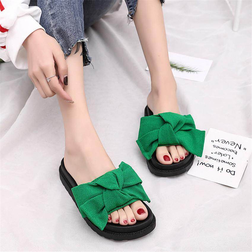 2018 Summer New Lotus Leaf Lace Shoes Flat Word Cool Slippers Korean Version of the Open Toe Student Shoes