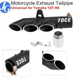 justgogo motorcycle exhaust muffler tail pipe three outlet tailpipe tip universal for ymaha yzf  [ 1000 x 1000 Pixel ]