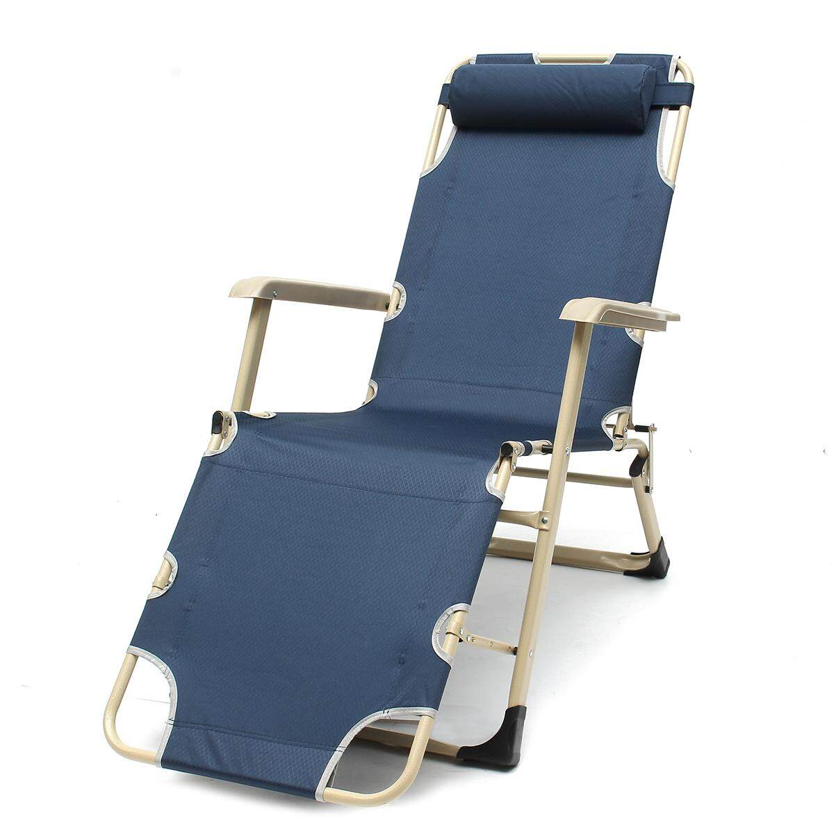 Reclining Deck Lounge Sun Beach Chair Outdoor Folding Camping Tanning Pool Navy - intl