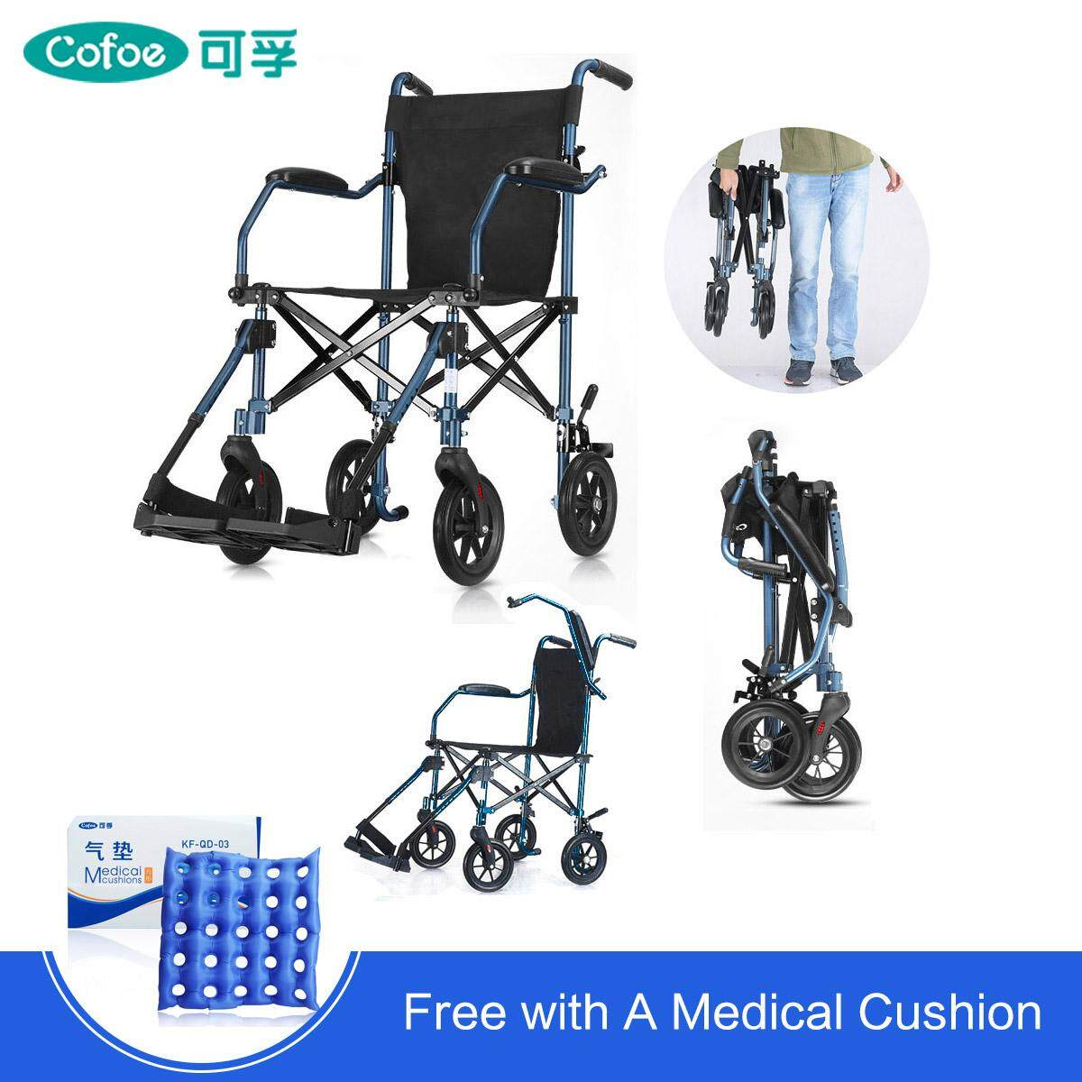 Wheel Chair Cushion Free Shippingcofoe Foldable Elderly Wheelchair Aluminum Compact Lightweight Wheel Chair With Foot Board Removable Trolley Cart Travel Walker