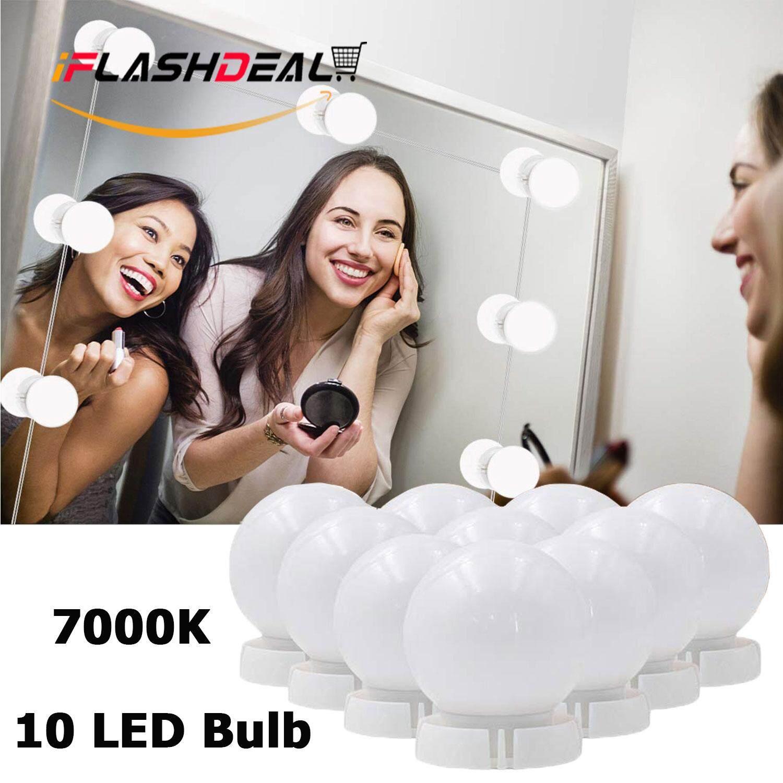 iFlashDeal Led Lampu Cermin Make Up Kesombongan Cermin Cahaya dengan 10 Lampu untuk Meja Rias Pencahayaan Strip Hollywood