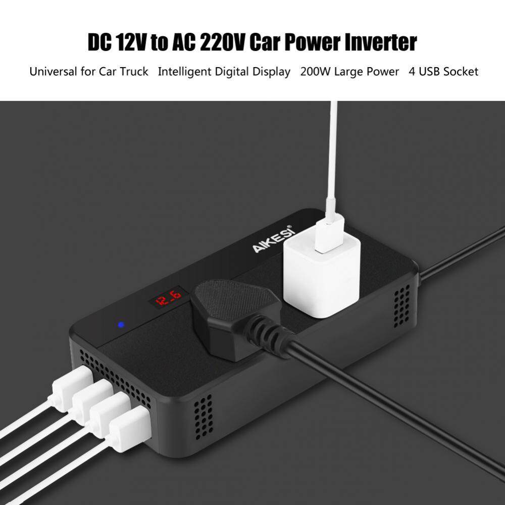 hight resolution of dc12v to ac220v 200w car power inverter converter 4 usb charger without hole intl