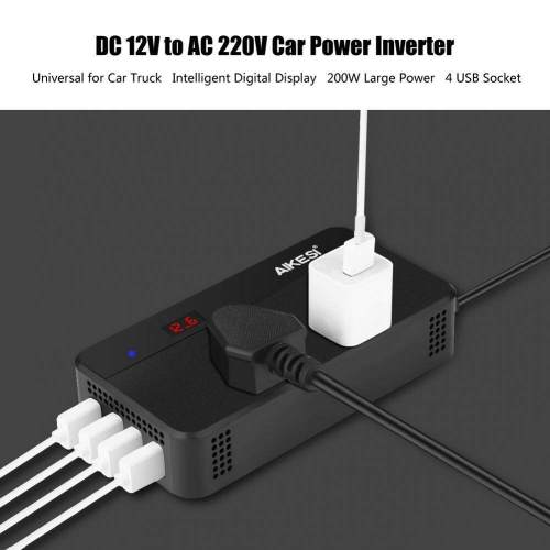 small resolution of dc12v to ac220v 200w car power inverter converter 4 usb charger without hole intl