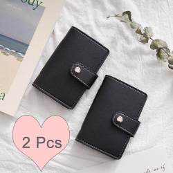 2 Pcs - PU Leather Credit Card Holder Travel Men Wallet