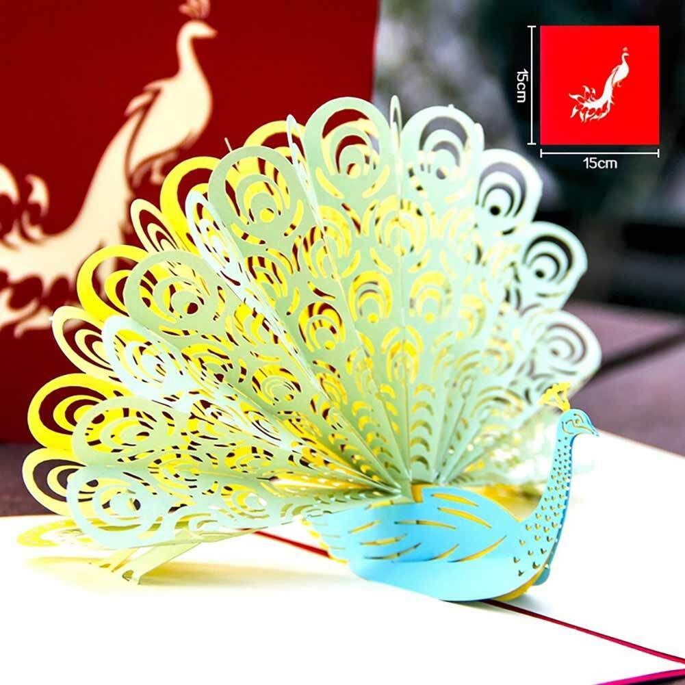 DSstyles 3D Printer Paper Carving Peacock Greeting Card DIY Holiday Card Red - intl