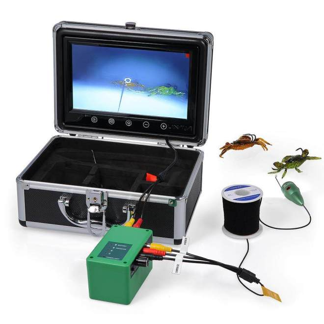 Lixada 9 Inch LCD Monitor Underwater Fishing Camera Kit 6 LED Infrared Lamp Lights Fish Finder Lake Under Water Fishing Camera 15M Cable US Plug - intl