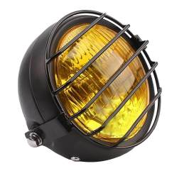 miracle shining yellow retro motorcycle headlight lamp with grill cover for cg125 gn125 [ 1024 x 1024 Pixel ]