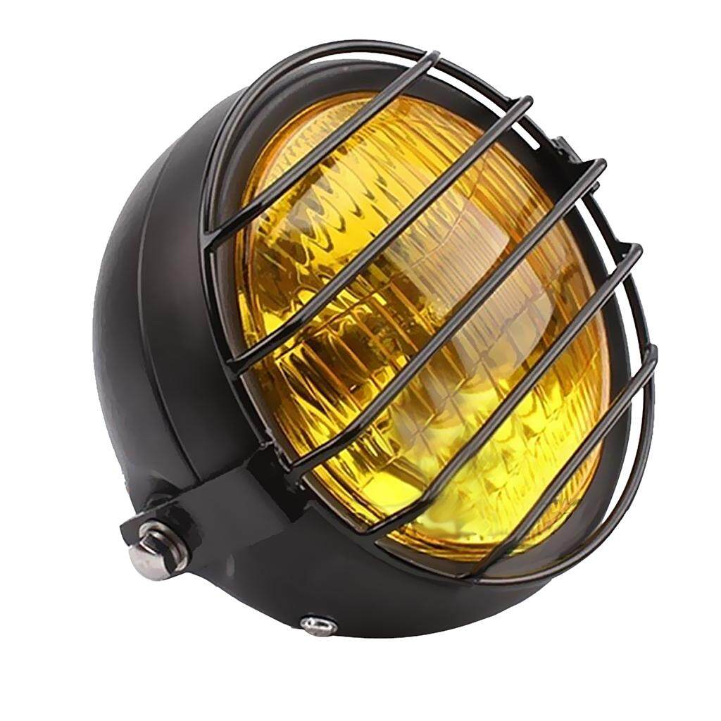 hight resolution of miracle shining yellow retro motorcycle headlight lamp with grill cover for cg125 gn125