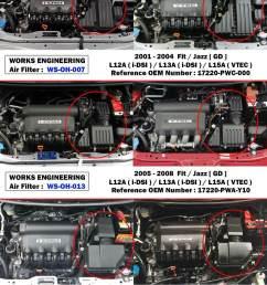 works high flow air filter for honda jazz fit gd1 gd3 gd5 1 2l 1 3l 1 5l 2005 08 [ 1200 x 1600 Pixel ]