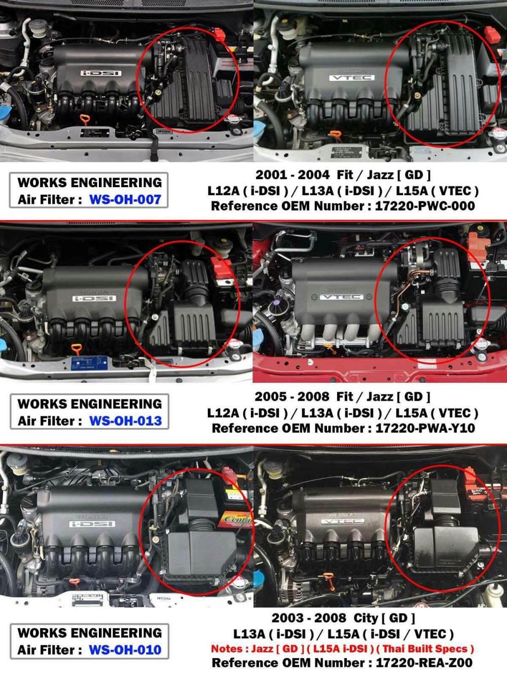 medium resolution of works high flow air filter for honda jazz fit gd1 gd3 gd5 1 2l 1 3l 1 5l 2005 08