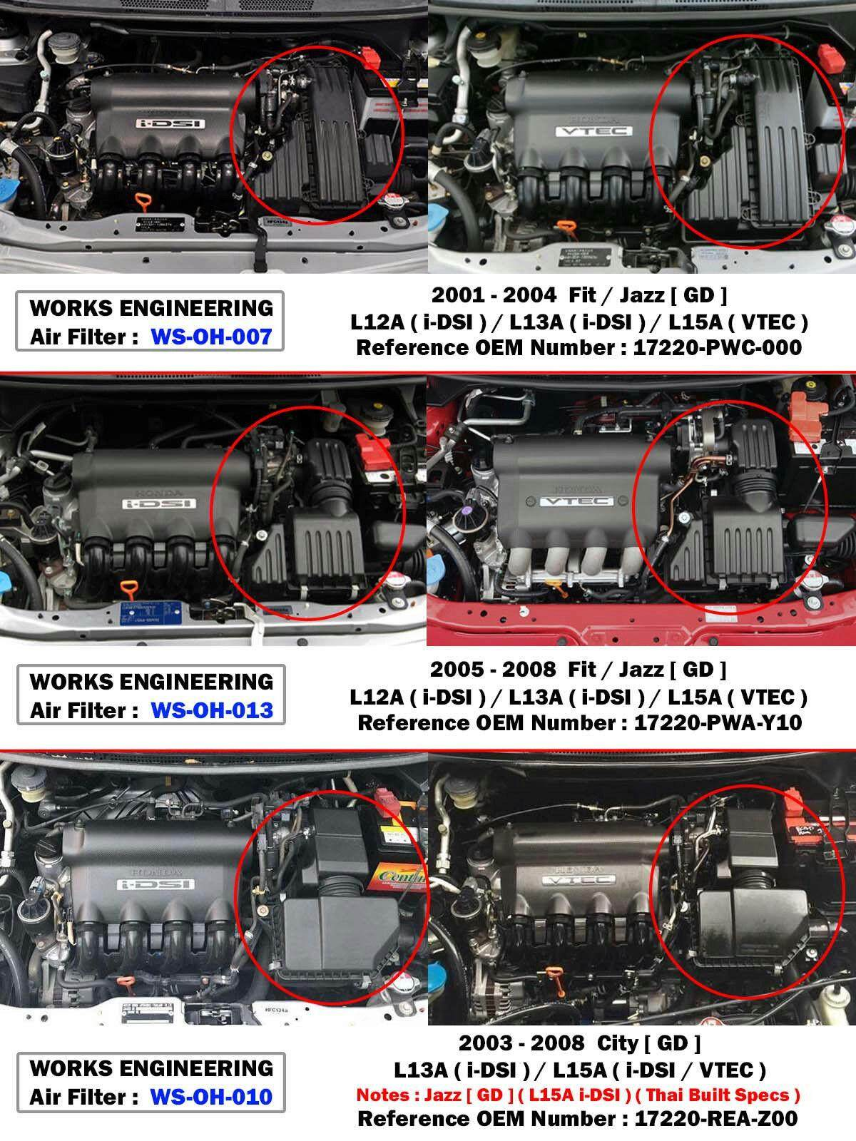 hight resolution of works high flow air filter for honda jazz fit gd1 gd3 gd5 1 2l 1 3l 1 5l 2005 08