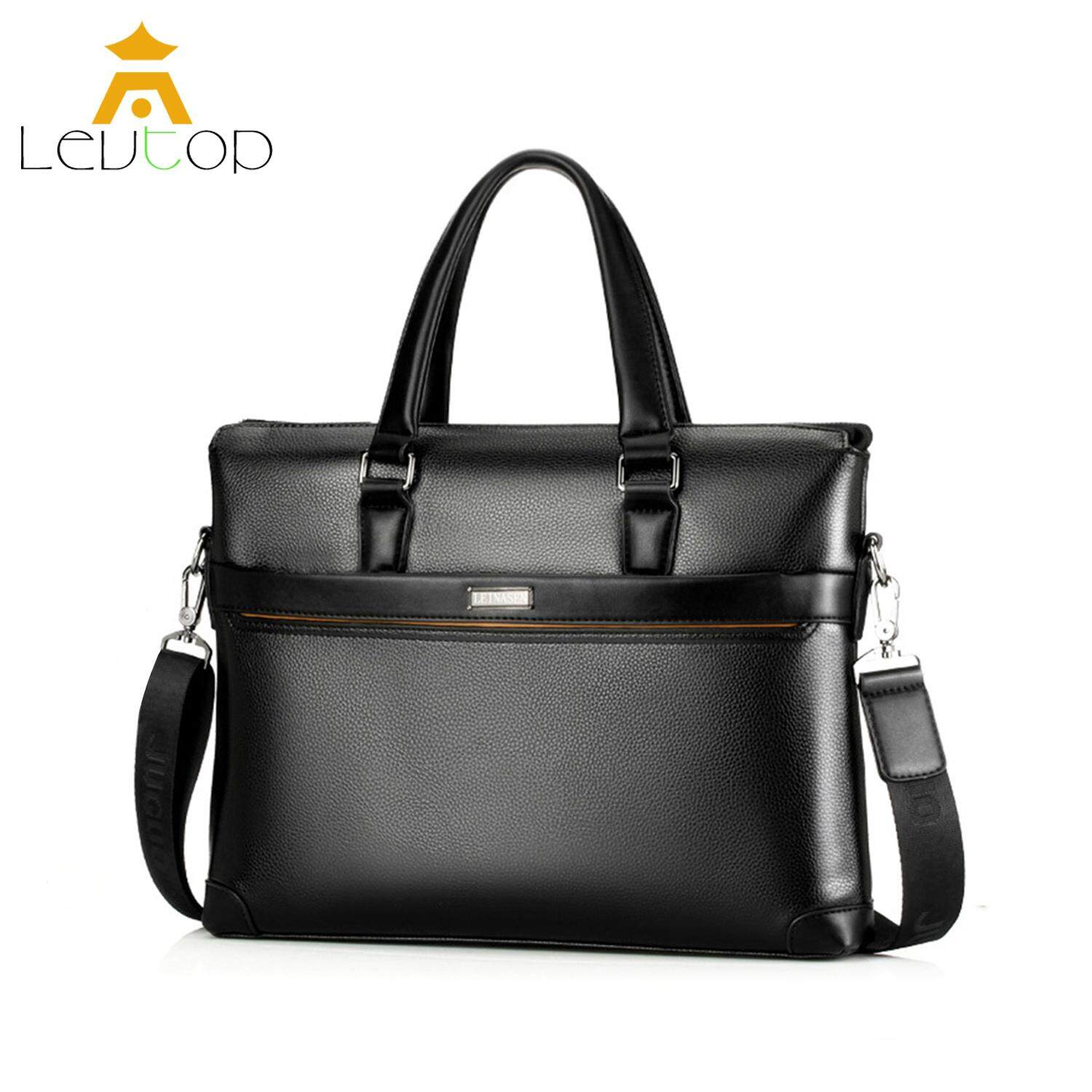 hight resolution of levtop men business bag briefcase pu leather shoulder bag laptop bag messenger sling bags
